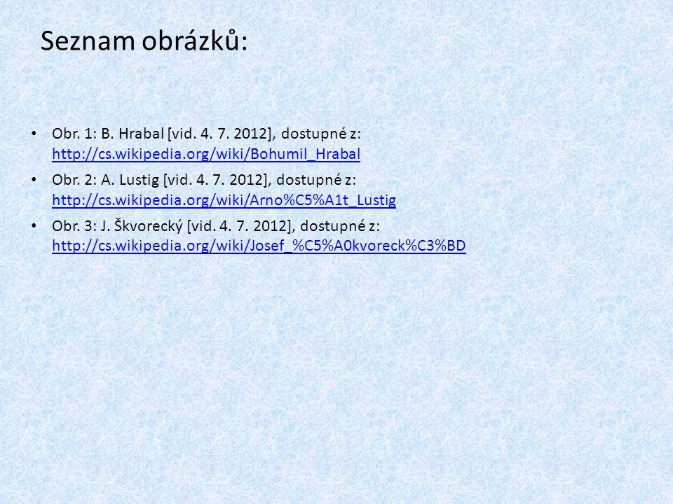 Seznam obrázků: Obr. 1: B. Hrabal [vid. 4. 7. 2012], dostupné z: http://cs.wikipedia.org/wiki/Bohumil_Hrabal.
